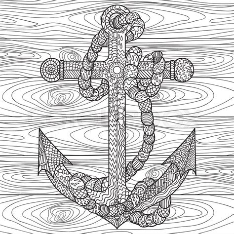 nautical mandala coloring pages hand drawn illustration of an anchor and rope in the