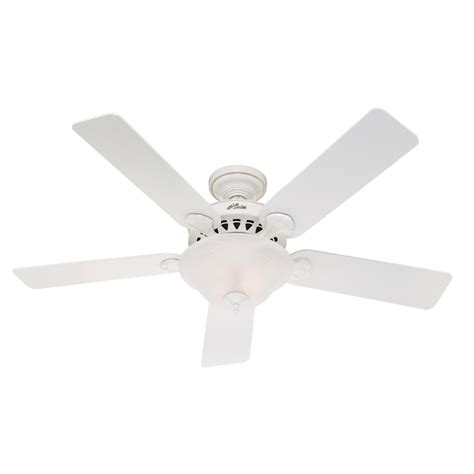 Shop Hunter 52 In 5 Minute Waldon White Ceiling Fan With Ceiling Fan Light Kit White