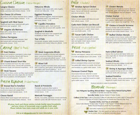 Oliva Garden Menu by 7 Best Images Of Olive Garden Menu Printable Out Olive