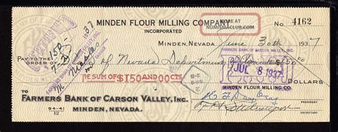 Us Bank Background Check 1937 Farmers Bank Of Carson Valley Certified Check Carson City Nevada