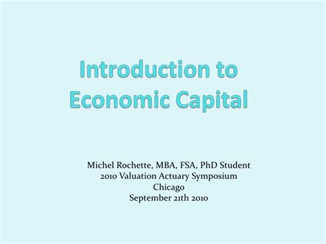 Introduction Of Mba Student by Introduction To Economic Capital