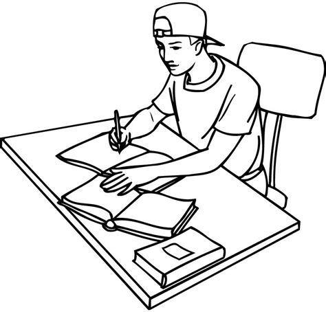 coloring book outlines printable outline of a student studying with books