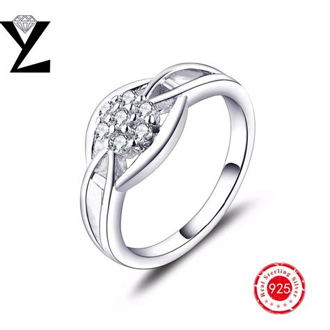 real 925 sterling silver ring engagement finger cz