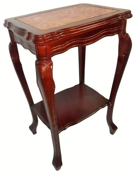 asian accent table marble top mahogany end table with shelf and cabrio leg