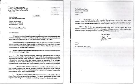Demand Letter Kenya Demand Letter From Attorney Tew To Pastor Perez June 20 2006 Exles Of Demand Letters In