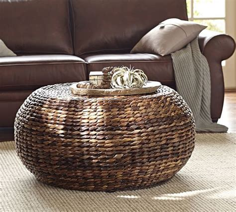 pottery barn seagrass ottoman coffee table seagrass coffee table round ottoman round