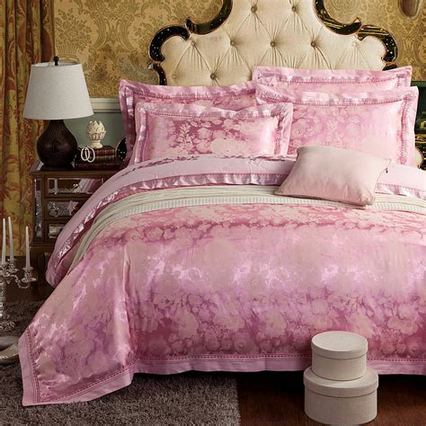 fashion bedding home textile fashion bedding pink luxury silk jacquard