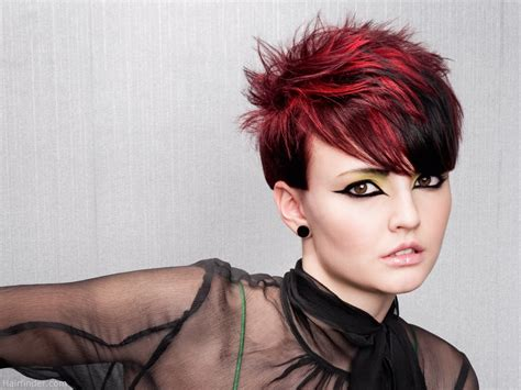 hairstyles and color short short spiky haircut with daring hair color contrasts