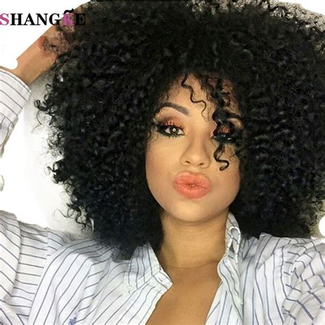 best hair style for kinky hair plus woman over 50 short afro kinky wig curly cheap black synthetic wigs for