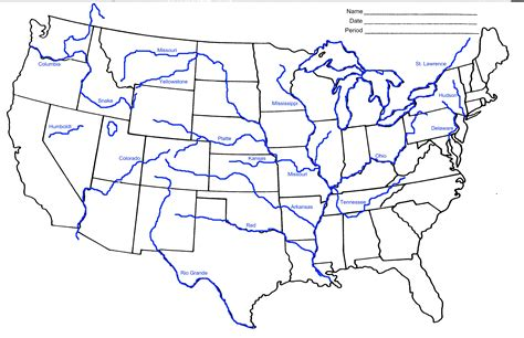 map of the united states with all bodies of water map of us rivers and states maps us map bodies of water