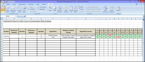 allergen risk assessment template sqf code certification