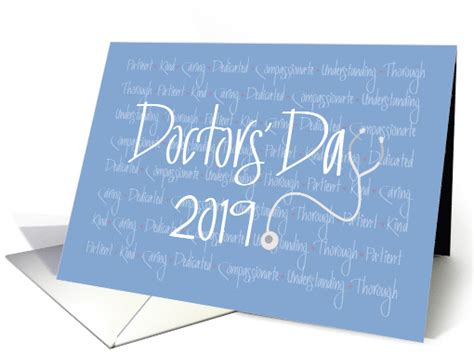 hand lettered doctors day  character words stethoscope card