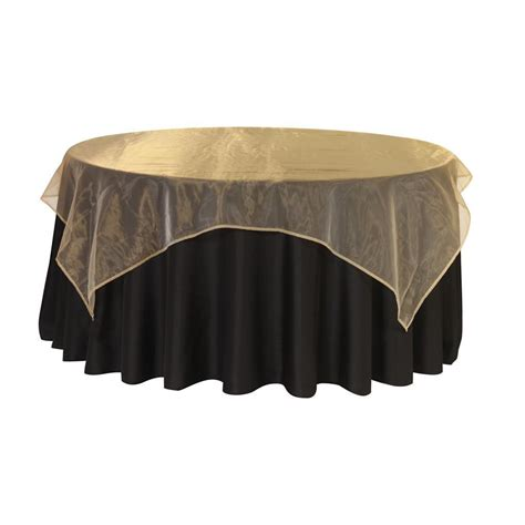 72 inch square organza table overlay gold by yourchaircovers