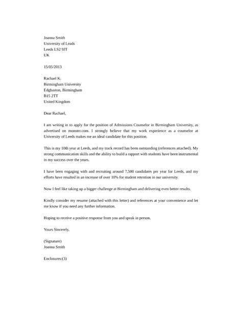 admissions advisor cover letter admissions counselor cover letter sles and templates