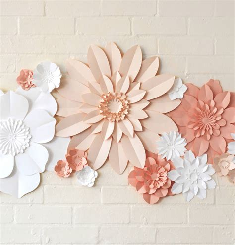 Handmade Flower Paper - handmade three colour paper flower wall display by may