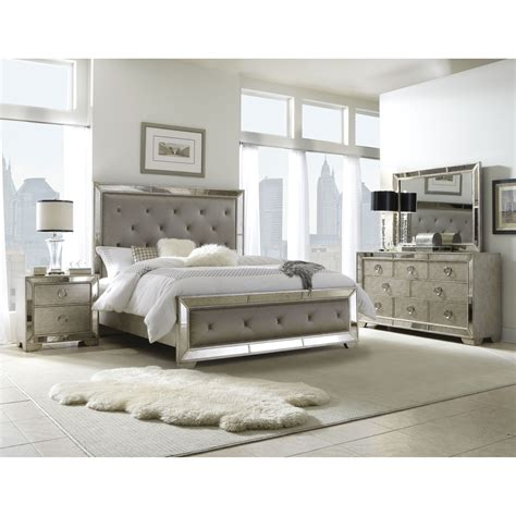 mirrored headboard bedroom set celine 5 piece mirrored and upholstered tufted queen size