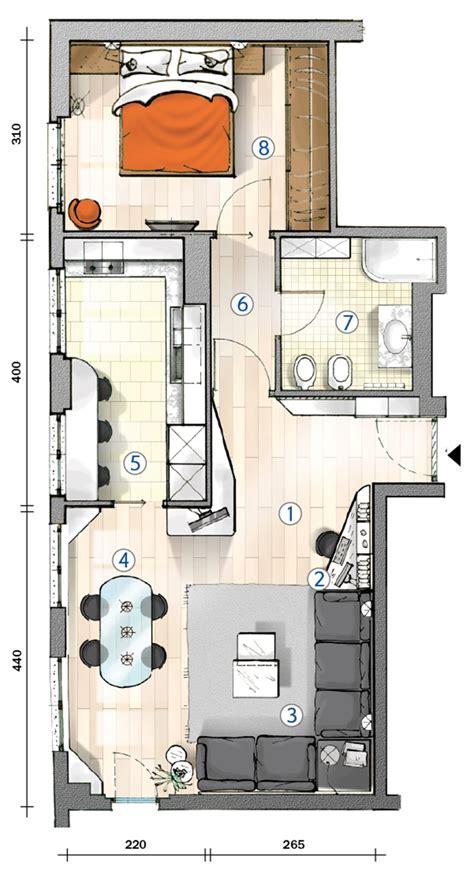 il pavimento di un locale a forma rettangolare cucina separata nel bilocale perfetto per due la pianta
