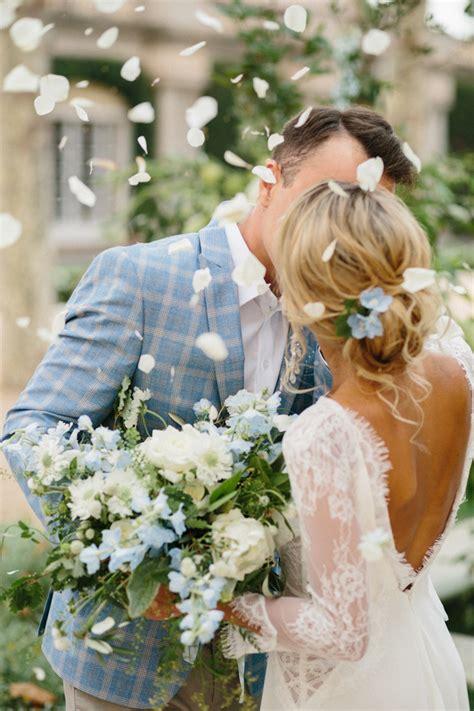 crisp white and powder blue wedding theme for a wedding