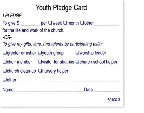 Church Finacial Pledge Cards Template by The Hubbard Press Standard Pledge Cards