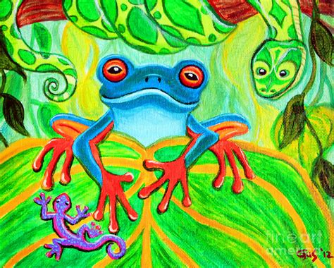 frog snake and gecko in the rainforest painting by nick gustafson