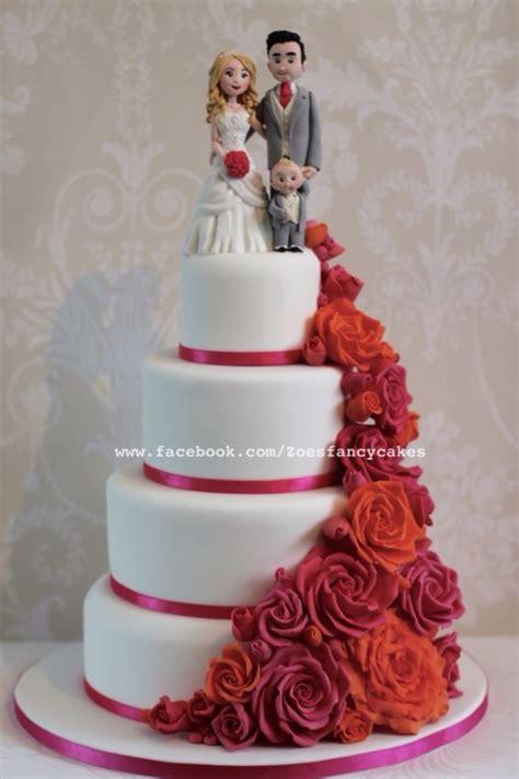 bright pink  orange rose wedding cake cake  zoes fancy cakes cakesdecor