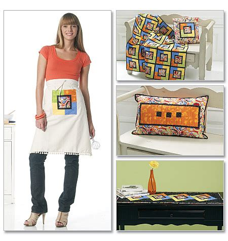pattern review for new look 6302 mccall s 6302 coasters apron runner pillow and lap quilt