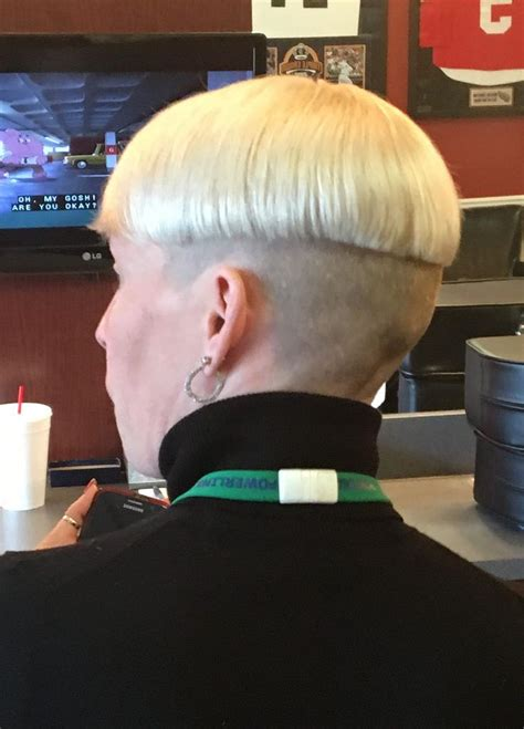 very short shaved bowl haircuts blonde two tone shaved nape bowlcut with turtleneck and