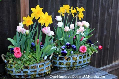design a flower basket diy how to create a spring flower basket using moss one