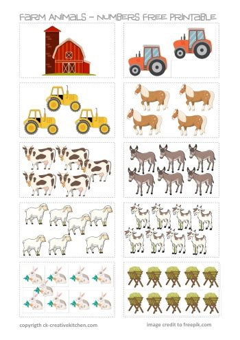 farm animals numbers  printable creative kitchen