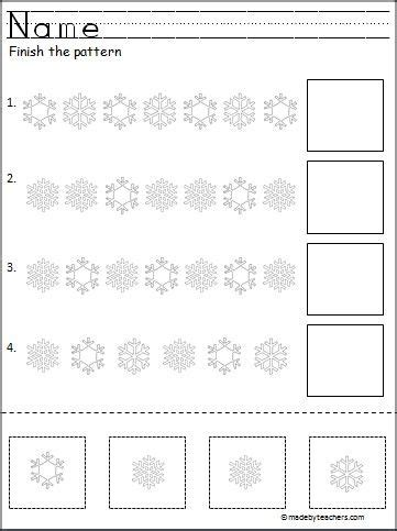 winter pattern activities cut and paste pattern worksheets for preschool free
