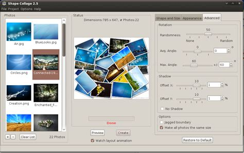 shape collage linux