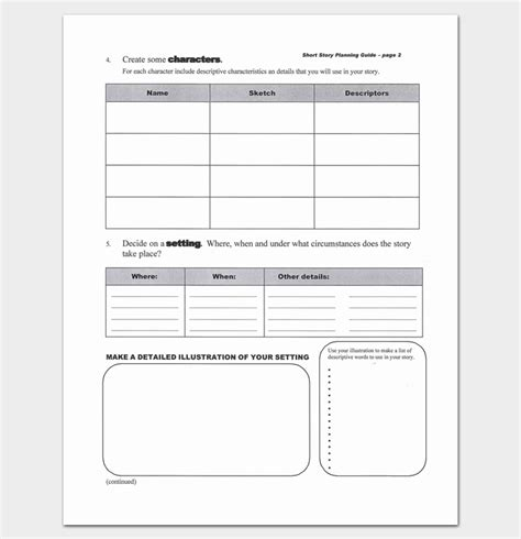 Story Outline Template by Story Outline Template 7 Worksheets For Word Pdf