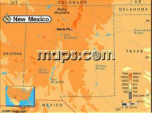 New Mexico Elevation Map by New Mexico Maps
