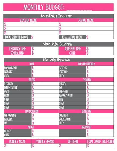 printable table planner make a monthly budget chart budgeting pinterest