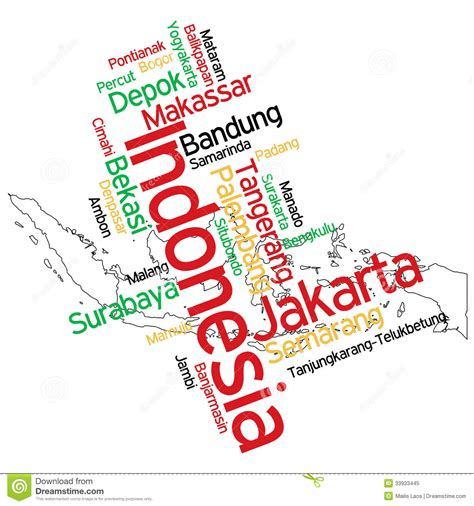 typography major indonesia map and cities stock vector illustration of