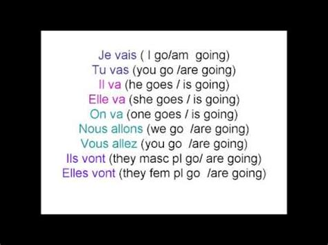 the verb 'aller' in the present tense youtube