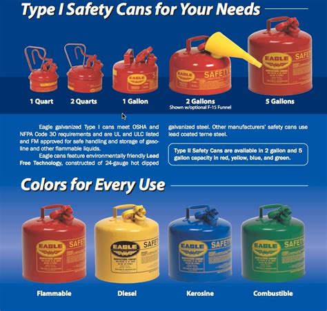 gasoline color eagle gas cans fuel containers 5 gallon type 1