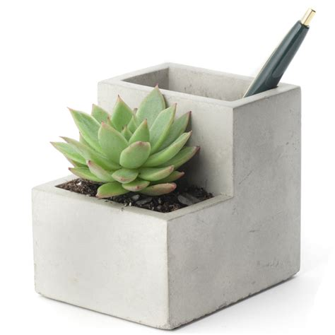desktop pen holder concrete desktop planter and pen holder small iwoot