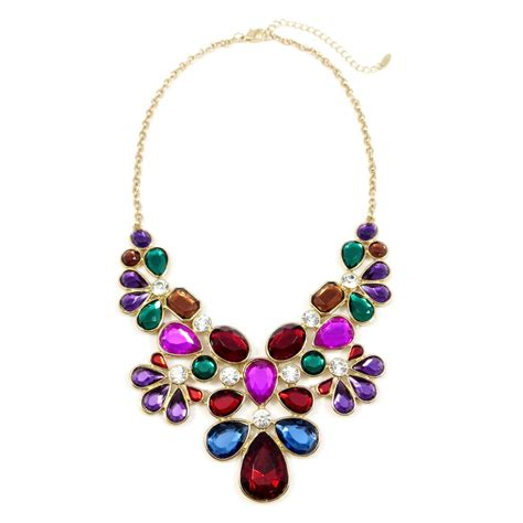 Bf002 Bead Motif Gemstone Limited Stock krishna toned gemstone floral statement necklace back in stock