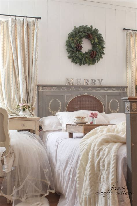 bit merry cottage bedroom christmas details french country cottage