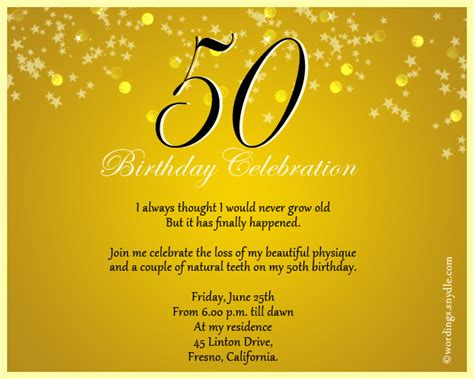 50th Birthday Invitation Wording Sles Wordings And Messages Celebration Of Cards Templates Free