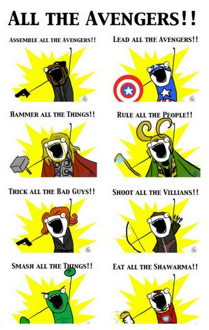 Eat All The Things Meme - all avengers story in one picture loki hulk iron