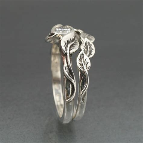 wedding ring set delicate leaf engagement ring with