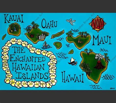 hawaii on a map hawaii map products brown