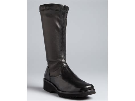 anyi lu wedge boots greer in black black stretch nappa