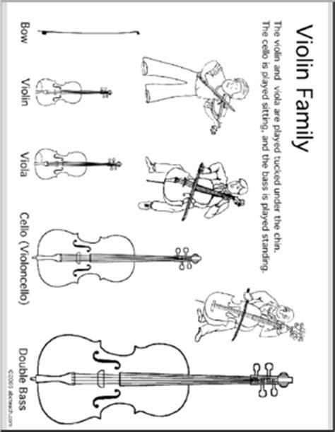 coloring pages instruments of the orchestra coloring page violin instrument family abcteach