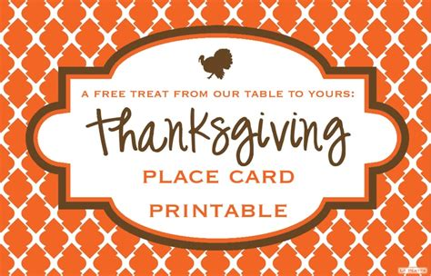 printable thanksgiving place cards free pinterest