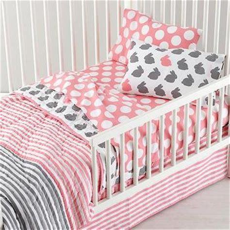 land of nod toddler bedding grey pink bunny bedding the land of nod