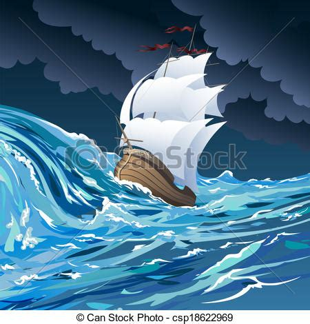 barco en una tormenta dibujo clip art vector of the sail ship illustration with sail