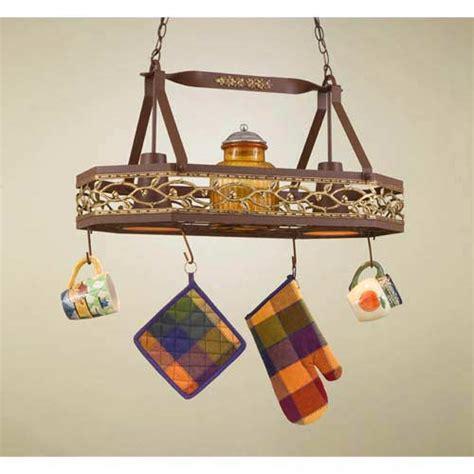 hi lite sonoma 8 sided hanging pot rack with 3 lights sonoma powder coat rust lighted pot rack hi lite lighted
